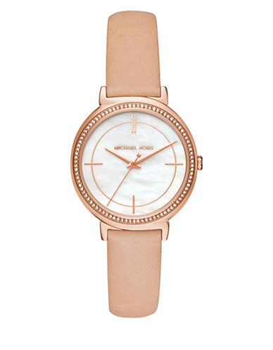 Michael Kors Cinthia Pink Leather Strap Watch-ROSE GOLD-One Size