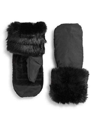 Pajar Reid Rabbit Fur Mittens-BLACK-XSmall/Small
