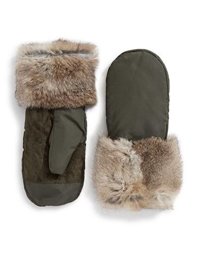 Pajar Reid Rabbit Fur Mittens-MILITARY-Medium/Large