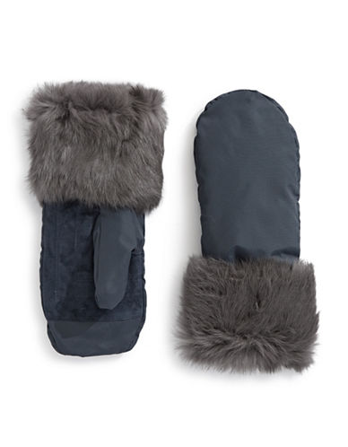 Pajar Reid Rabbit Fur Mittens-NAVY-Medium/Large