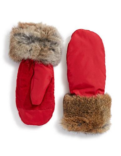 Pajar Reid Rabbit Fur Mittens-RED-Medium/Large