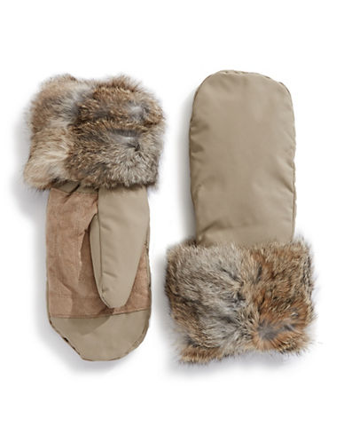 Pajar Reid Rabbit Fur Mittens-SAND-Medium/Large