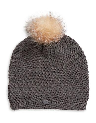 Pajar Sylvia Fox Fur Pom-Pom Beanie-CHARCOAL-One Size