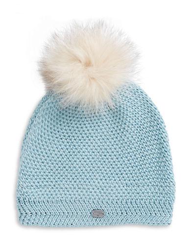 Pajar Sylvia Fox Fur Pom-Pom Beanie-BLUE-One Size