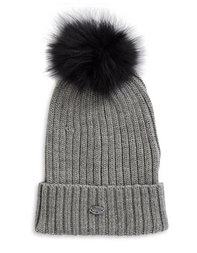 Pajar Ash Fox Fur Pom-Pom Beanie-BLACK-One Size