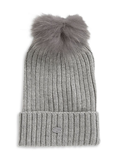 Pajar Ash Fox Fur Pom-Pom Beanie-CHARCOAL-One Size