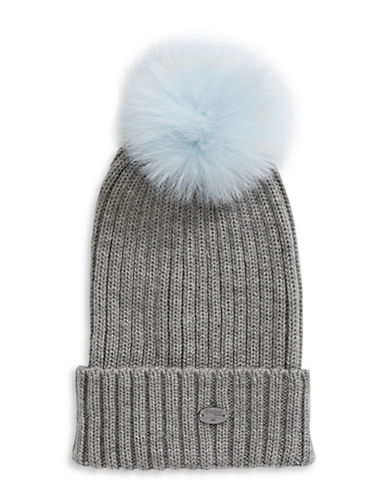 Pajar Ash Fox Fur Pom-Pom Beanie-BLUE-One Size