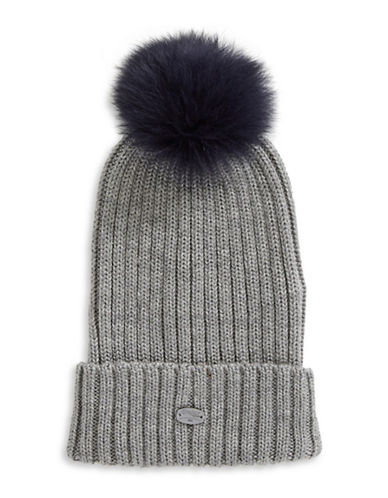 Pajar Ash Fox Fur Pom-Pom Beanie-NAVY-One Size
