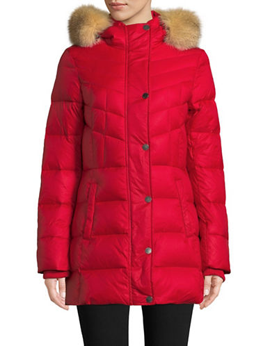 Pajar Roxy Down Quilted Fox Fur Jacket-RED-Small