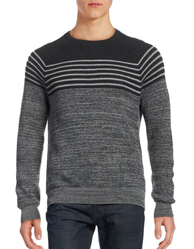 Perry Ellis Stripe Wool-Blend Crew Neck Sweater-GREY-Medium 88732093_GREY_Medium