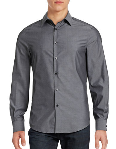 Perry Ellis Travel Luxe Horseshoe Dobby Shirt-BLACK-Small