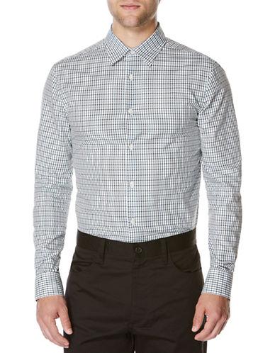 Perry Ellis Plaid Woven Shirt-BLUE POND-XX-Large