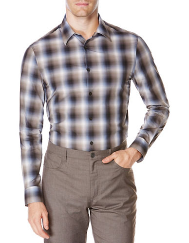 Perry Ellis Plaid Ombre Woven Shirt-BLACK-Large 88634734_BLACK_Large