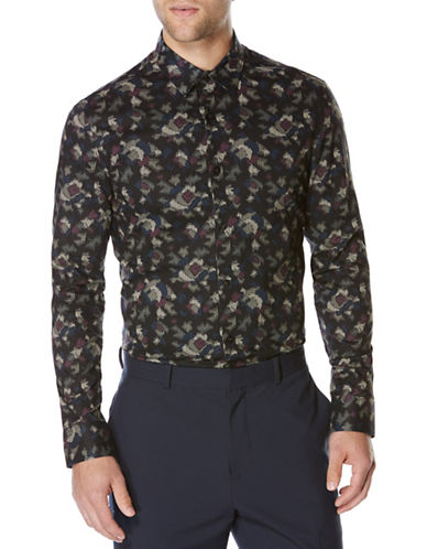 Perry Ellis Long Sleeve Camo Printed Shirt-BLACK-X-Large