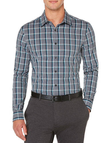 Perry Ellis Plaid Woven Shirt-INK-Small