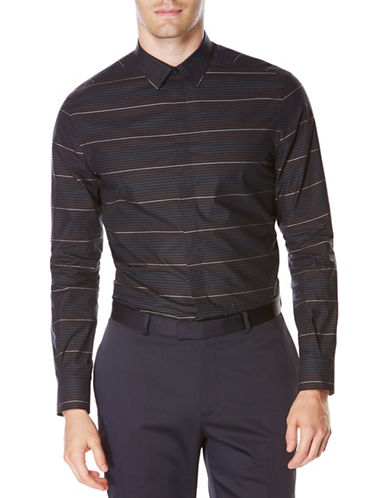 Perry Ellis Ombre Stripe Woven Shirt-SAPPHIRE-X-Large