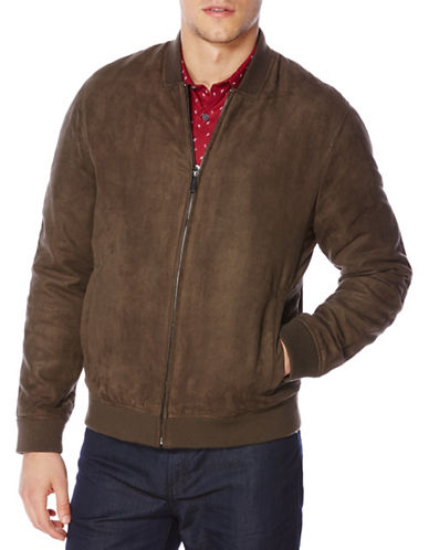 Perry Ellis Faux Suede Jacket-BROWN-Large 88634694_BROWN_Large