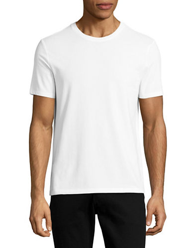 Perry Ellis Solid Pima Crew T-Shirt-WHITE-Medium