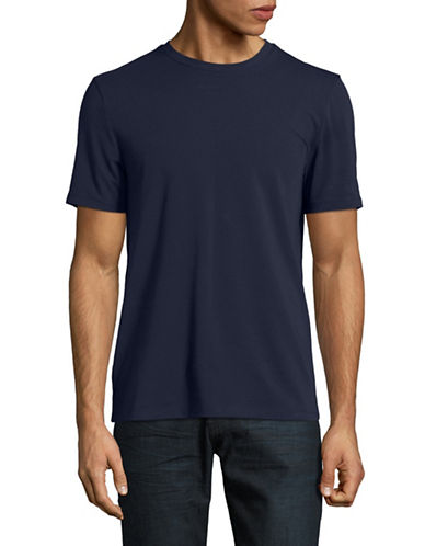 Perry Ellis Solid Pima Crew T-Shirt-NAVY-Large