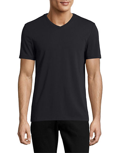Perry Ellis Pima Cotton V-Neck T-Shirt-BLACK-X-Large