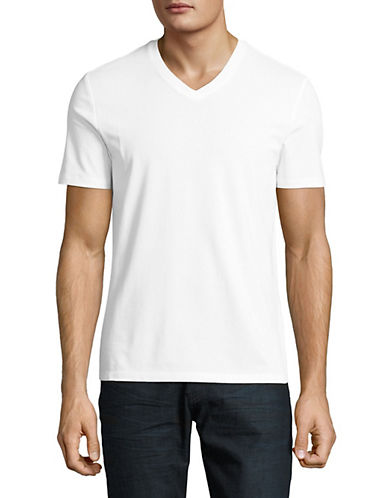 Perry Ellis Pima Cotton V-Neck T-Shirt-WHITE-X-Large 88928710_WHITE_X-Large
