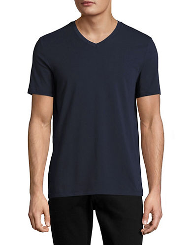 Perry Ellis Pima Cotton V-Neck T-Shirt-NAVY-XX-Large