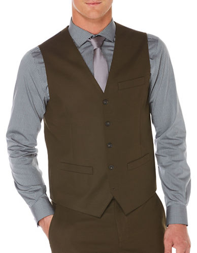 Perry Ellis Slim-Fit Sateen Five-Button Vest-GREEN-Small