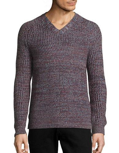Perry Ellis Textured V-Neck Sweater-RED-X-Large