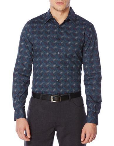 Perry Ellis Paisley Print Shirt-ECLIPSE-Large