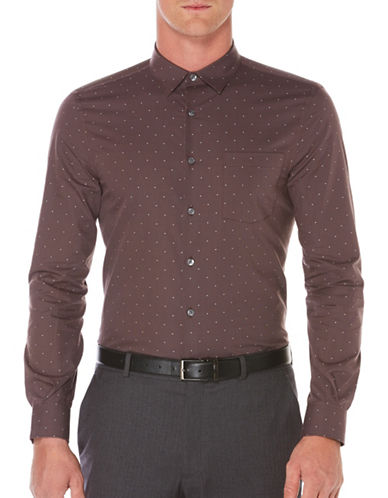 Perry Ellis Point Collar Cotton Shirt-BROWN-Large