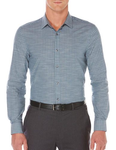 Perry Ellis Woven Slim-Fit Cotton Shirt-GREY-Large
