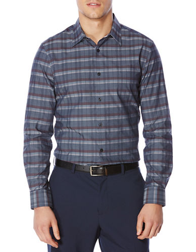 Perry Ellis Plaid Woven Shirt-ECLIPSE-Medium