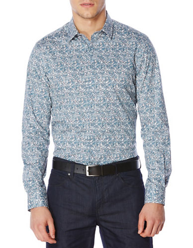 Perry Ellis Printed Shirt-BLUE-Small