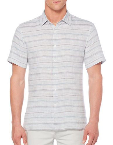 Perry Ellis Striped Linen Short-Sleeve Shirt-GREY-Small