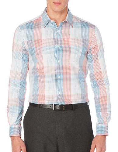 Perry Ellis Plaid Woven Shirt-WHITE-X-Large