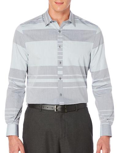 Perry Ellis Striped Woven Shirt-GREY-Medium