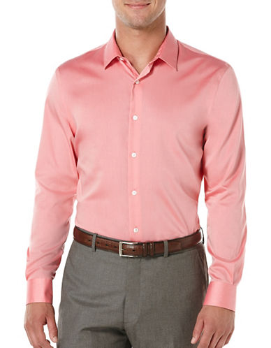Perry Ellis Solid Long Sleeve Shirt-PINK-Large