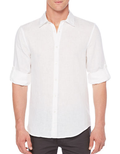 Perry Ellis Linen Roll-Sleeve Shirt-WHITE-Large