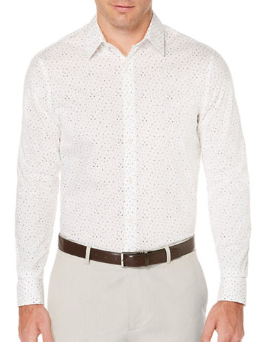 Perry Ellis Dobby Print Sport Shirt-WHITE-X-Large