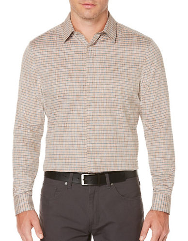 Perry Ellis Striped Cotton Twill Shirt-BROWN-Large