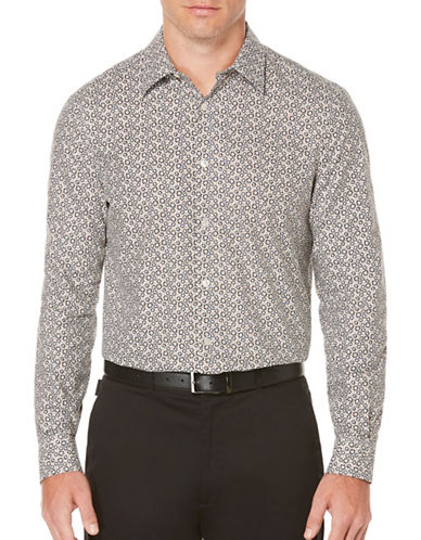 Perry Ellis Floral Printed Woven Shirt-GREY-Medium