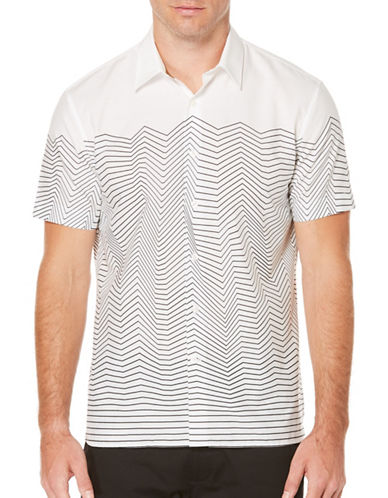 Perry Ellis Wavy Striped Woven Shirt-WHITE-XX-Large