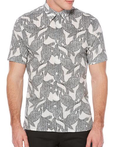 Perry Ellis Leaf Printed Woven Shirt-WHITE-Medium