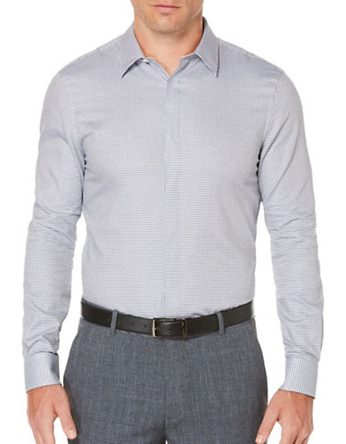Perry Ellis Dobby Woven Sport Shirt-BLUE-X-Large