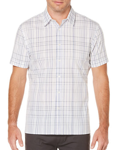 Perry Ellis Short Sleeve Plaid Woven Shirt-WHITE-Medium