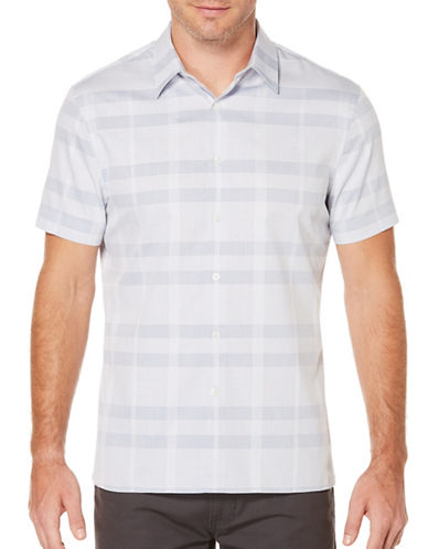 Perry Ellis Plaid Woven Shirt-GREY-Large