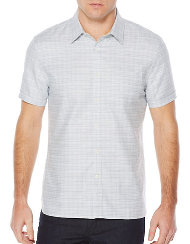 Perry Ellis Short Sleeve Dobby Textured Woven Shirt-GREY-Large