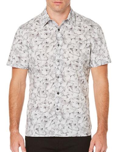 Perry Ellis Shadow Geometric Printed Shirt-GREY-X-Large