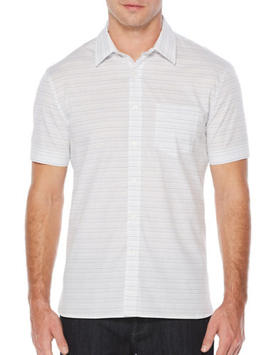 Perry Ellis Striped Woven Shirt-WHITE-Small