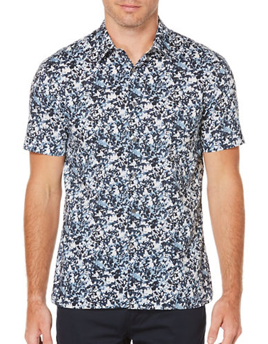 Perry Ellis Printed Woven Shirt-BLUE-Large